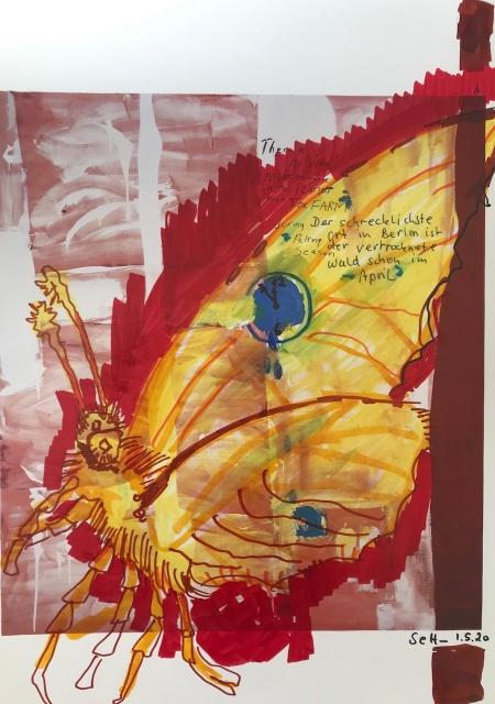 Die Zeit steht still, Version 1, 30,5 x 22,7 cm, Marker auf Katalog, Aneignung, Zeichung von Susanne Haun (c) VG Bild-Kunst, Bonn 2020