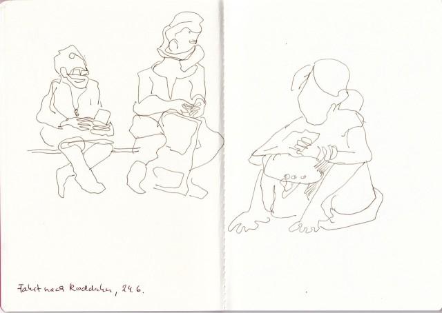 Auf dem Bahnhof, Zeichnung von Susanne Haun (c) VG Bild-Kunst, Bonn 2020