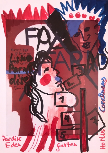 Maria im Hortus Conclusus, 30,5 x 22,7 cm, Marker auf Katalog, Aneignung, Zeichung von Susanne Haun (c) VG Bild-Kunst, Bonn 2020