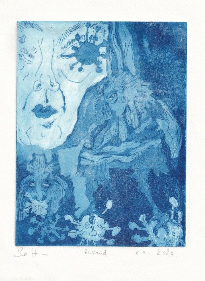 Die Traumdeuterin und Seherin, Aquatinta von 1 Platten, 20 x 15 cm, Radierung von Susanne Haun, (c) VG Bild-Kunst, Bonn 2020