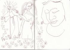 Maria im Hortus Conclusus, Zeichung von Susanne Haun (c) VG Bild-Kunst, Bonn 2020
