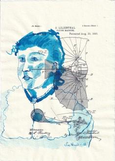 Blatt 17 - Zyklus Otto Lilienthal - Zeichnung von Susanne Haun - 30 x 20 cm - Tusche auf Silberburg Bütten (c) VG Bild-Kunst, Bonn 2020