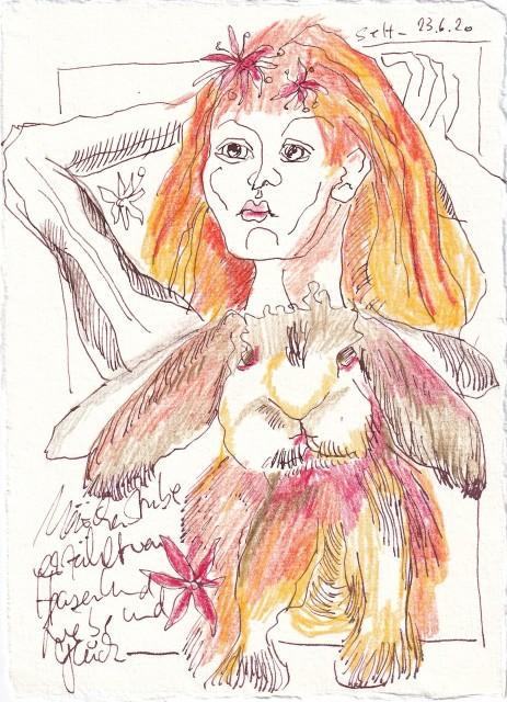 Tagebucheintrag 23.6.2020, 20 x 15 cm, Tinte und Buntstift auf Silberburg Büttenpapier, Zeichnung von Susanne Haun (c) VG Bild-Kunst, Bonn 2020