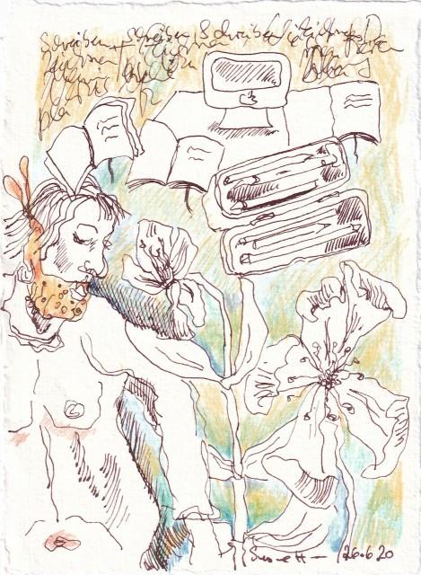 Tagebucheintrag 26.6.2020, Schreiben und Schreiben, 20 x 15 cm, Tinte und Buntstift auf Silberburg Büttenpapier, Zeichnung von Susanne Haun (c) VG Bild-Kunst, Bonn 2020