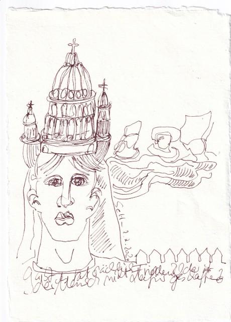 agebucheintrag 2.7.2020, Ist der Mensch für den Frieden geschaffen, 20 x 15 cm, Tinte und Buntstift auf Silberburg Büttenpapier, Zeichnung von Susanne Haun (c) VG Bild-Kunst, Bonn 2020