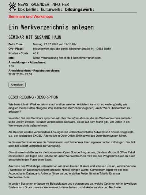 Seminar Werkverzeichnis anlegen, Sozentin Susanne Haun beim Bildungdswerk des bbk Berlin