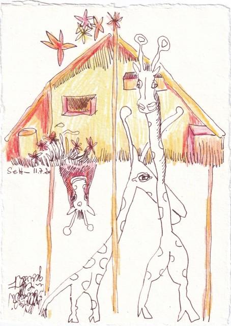 Tagebucheintrag 11.7.2020, Giraffen im Stall, 20 x 15 cm, Tinte und Buntstift auf Silberburg Büttenpapier, Zeichnung von Susanne Haun (c) VG Bild-Kunst, Bonn 2020