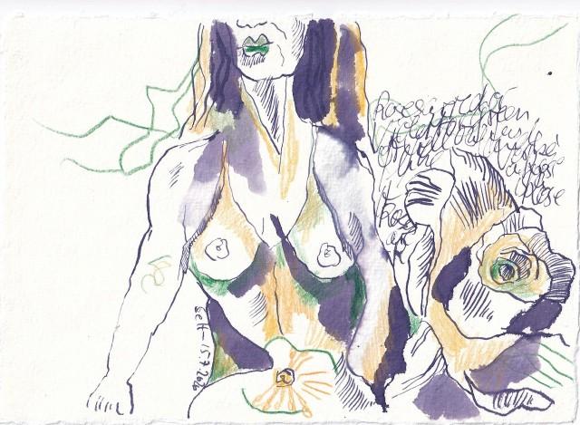 Tagebucheintrag 15.7.2020, Roses are violett, 20 x 15 cm, Tinte und Buntstift auf Silberburg Büttenpapier, Zeichnung von Susanne Haun (c) VG Bild-Kunst, Bonn 2020