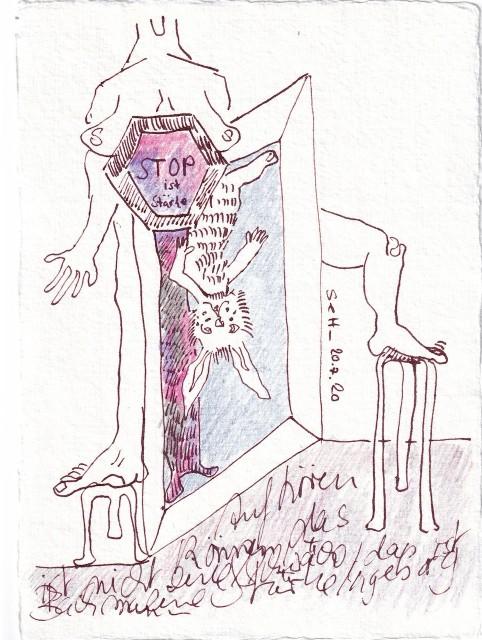 Tagebucheintrag 20.7.2020, Aufhören können ist Stärke, 20 x 15 cm, Tinte und Buntstift auf Silberburg Büttenpapier, Zeichnung von Susanne Haun (c) VG Bild-Kunst, Bonn 2020