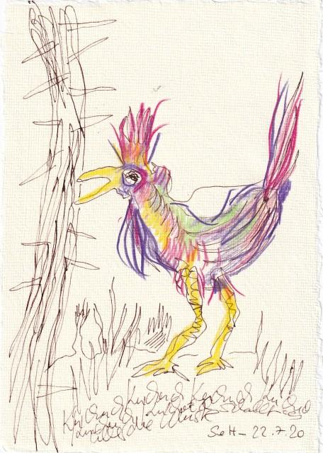 Tagebucheintrag 22.7.2020,Kuckuck schallt es über die Wüste, 20 x 15 cm, Tinte und Buntstift auf Silberburg Büttenpapier, Zeichnung von Susanne Haun (c) VG Bild-Kunst, Bonn 2020