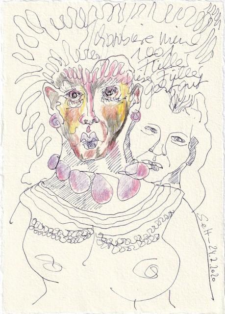Tagebucheintrag 24.7.2020, Christopher Street day, Ich probiere 1.001 Füller, 20 x 15 cm, Tinte und Buntstift auf Silberburg Büttenpapier, Zeichnung von Susanne Haun (c) VG Bild-Kunst, Bonn 2020