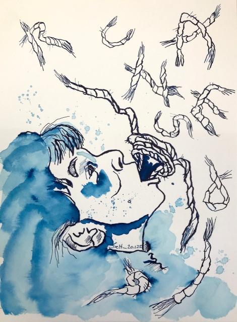 Verkleinert - Entfesselte Sprache, 31 x 23 cm, Tusche auf Aquarellkarton, 2020 (c) Zeichnung von Susanne Haun