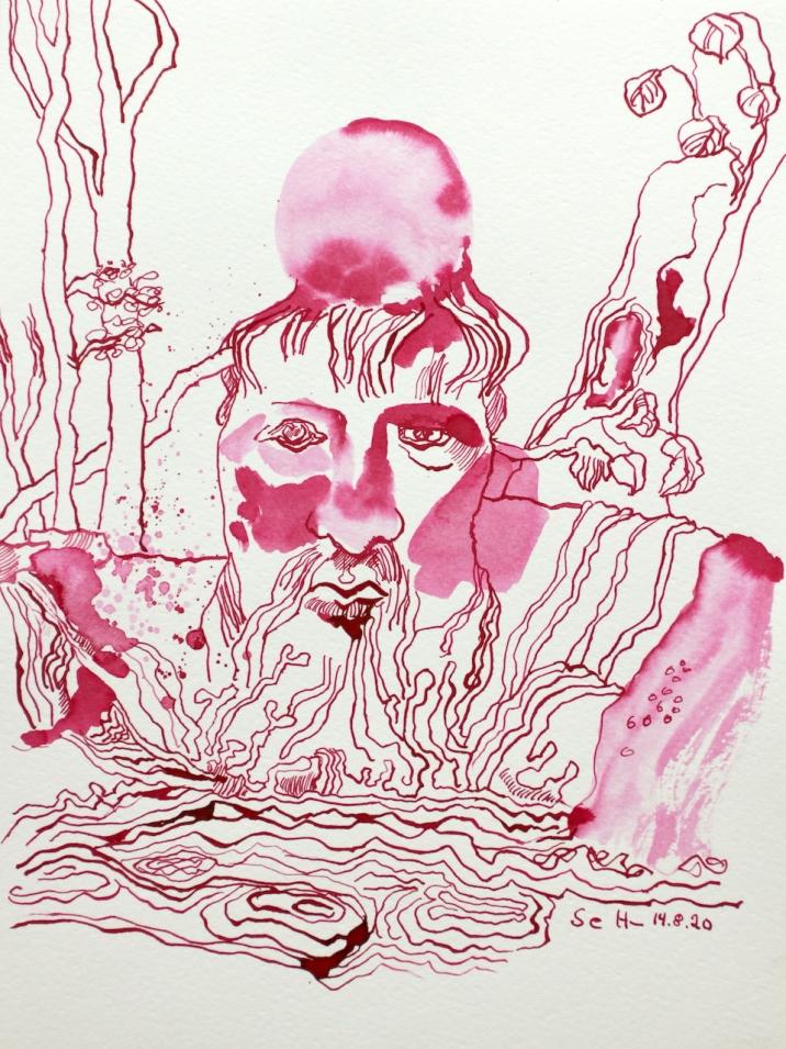 Heraklit - Alles Fliesst - 32 x 24 cm, Tusche auf Aquarellkarton, Zeichnung von Susanne Haun (c) VG Bild-Kunst, Bonn 2020