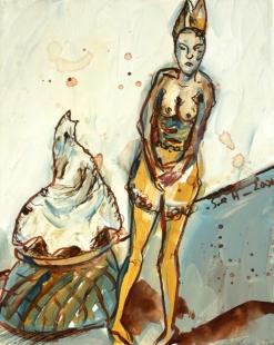 Im Herbst einmal schüchertern sein, 30 x 24 cm, Acryl und Tusche auf Leinwand, Gemälde von Susanne Haun (c) VG Bild- Kunst, Bonn 2020