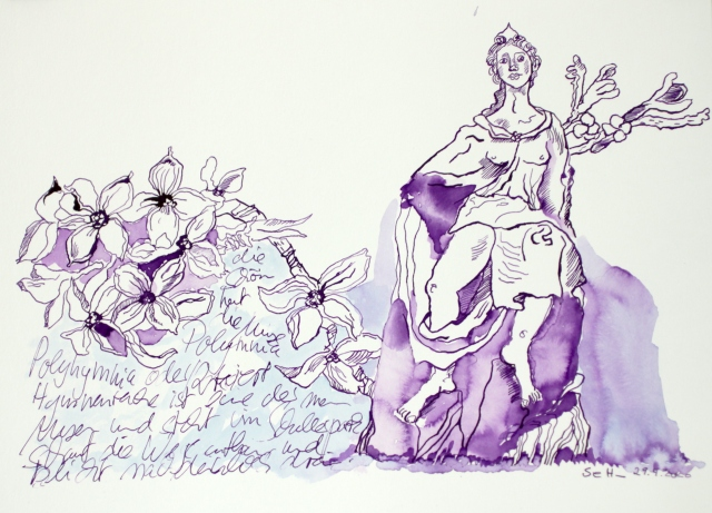 Muse Polyharmonia, Tusche auf Aquarellkarton, 30 x 40 cm, Zeichnung von Susanne Haun (c) VG Bild-Kunst, Bonn 2020