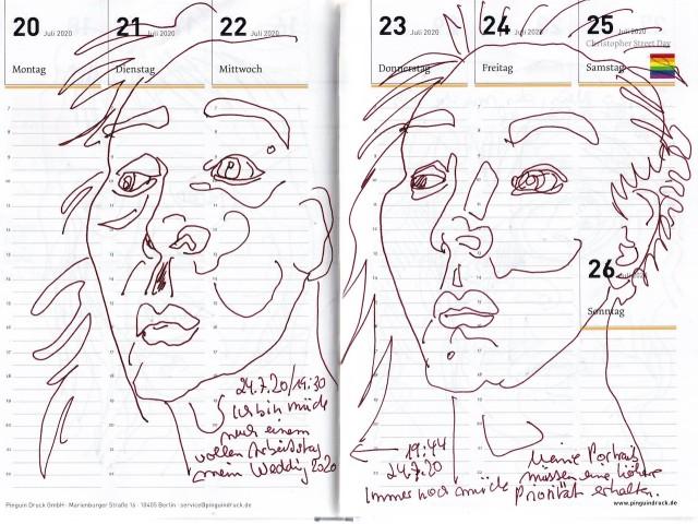 Selbstbildnisstagebuch 13.7. – 30.8.2020, Zeichnung von Susanne Haun (c) VG Bild-Kunst, Bonn 2020
