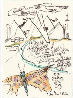 Tagebucheintrag 01.08.2020, Was ist echt, 20 x 15 cm, Tinte und Buntstift auf Silberburg Büttenpapier, Zeichnung von Susanne Haun (c) VG Bild-Kunst, Bonn 2020