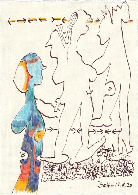 Tagebucheintrag 14.08.2020, Sind wir wirklich so verschieden, 20 x 15 cm, Tinte und Buntstift auf Silberburg Büttenpapier, Zeichnung von Susanne Haun (c) VG Bild-Kunst, Bonn 2020
