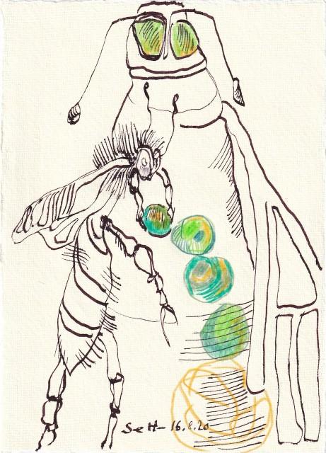 Tagebucheintrag 16.08.2020, Kurt der Mistkäfer, 20 x 15 cm, Tinte und Buntstift auf Silberburg Büttenpapier, Zeichnung von Susanne Haun (c) VG Bild-Kunst, Bonn 2020