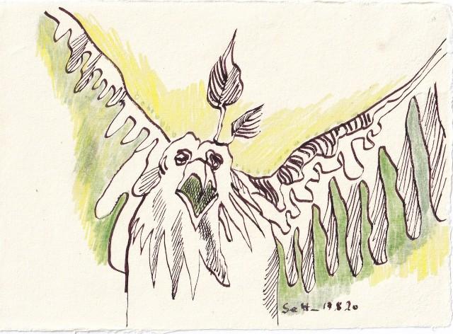 Tagebucheintrag 17.08.2020, Bla bla, bla bla, 20 x 15 cm, Tinte und Buntstift auf Silberburg Büttenpapier, Zeichnung von Susanne Haun (c) VG Bild-Kunst, Bonn 2020