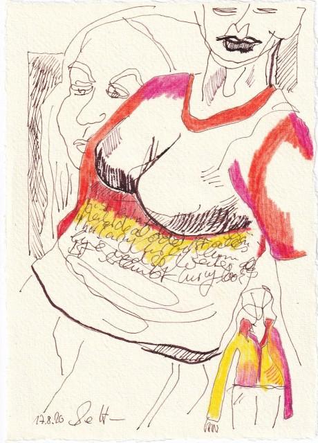 Tagebucheintrag 17.08.2020, Gibt es noch ein Schönheitsideal, 20 x 15 cm, Tinte und Buntstift auf Silberburg Büttenpapier, Zeichnung von Susanne Haun (c) VG Bild-Kunst, Bonn 2020