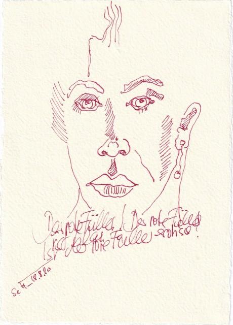 Tagebucheintrag 18.08.2020, Ist der rote Füller erotisch, 20 x 15 cm, Tinte und Buntstift auf Silberburg Büttenpapier, Zeichnung von Susanne Haun (c) VG Bild-Kunst, Bonn 2020