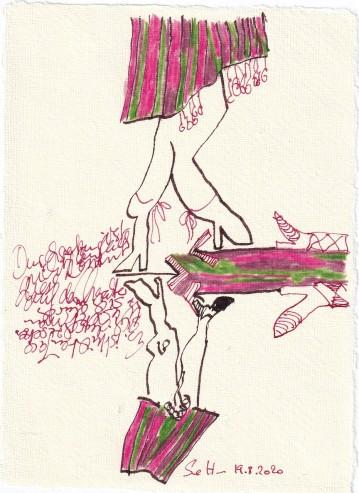 Tagebucheintrag 19.08.2020, Wie setze ich mich durch, 20 x 15 cm, Tinte und Buntstift auf Silberburg Büttenpapier, Zeichnung von Susanne Haun (c) VG Bild-Kunst, Bonn 2020