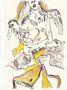 Tagebucheintrag 31.7.2020, Hilft mir ein Glaube, 20 x 15 cm, Tinte und Buntstift auf Silberburg Büttenpapier, Zeichnung von Susanne Haun (c) VG Bild-Kunst, Bonn 2020