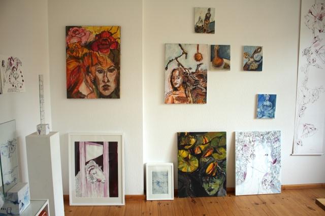Atelieransicht, Herbst, Asyl im Paradies, Gemälde von Susanne Haun (c) VG Bild-Kunst, Bonn 2020