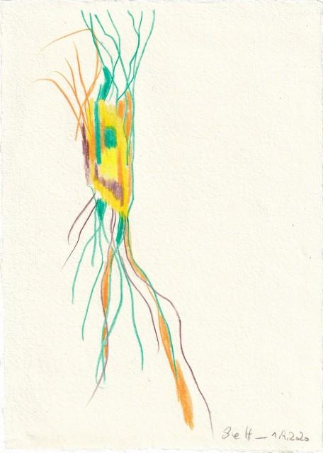 Tagebucheintrag 01.09.2020, Es grünt so grün wenn Spaniens Blüten blühen, 20 x 15 cm, Tinte und Buntstift auf Silberburg Büttenpapier, Zeichnung von Susanne Haun (c) VG Bild-Kunst, Bonn 2020