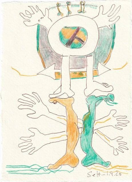 Tagebucheintrag 01.09.2020, Immer weiter und weiter, 20 x 15 cm, Tinte und Buntstift auf Silberburg Büttenpapier, Zeichnung von Susanne Haun (c) VG Bild-Kunst, Bonn 2020