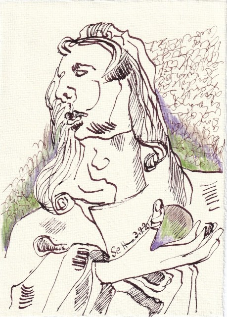 Tagebucheintrag 03.09.2020, Sein oder nicht sein mit Kugel in der Hand, 20 x 15 cm, Tinte und Buntstift auf Silberburg Büttenpapier, Zeichnung von Susanne Haun (c) VG Bild-Kunst, Bonn 2020