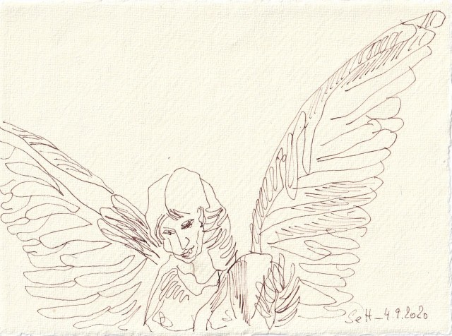 Tagebucheintrag 04.09.2020, Schutzengel, 20 x 15 cm, Tinte und Buntstift auf Silberburg Büttenpapier, Zeichnung von Susanne Haun (c) VG Bild-Kunst, Bonn 2020