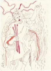 Tagebucheintrag 06.09.2020, Schau - Elektrizität, 20 x 15 cm, Tinte und Buntstift auf Silberburg Büttenpapier, Zeichnung von Susanne Haun (c) VG Bild-Kunst, Bonn 2020
