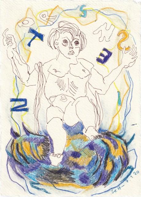Tagebucheintrag 07.09.2020, Was sagt uns das Wort?, 20 x 15 cm, Tinte und Buntstift auf Silberburg Büttenpapier, Zeichnung von Susanne Haun (c) VG Bild-Kunst, Bonn 2020