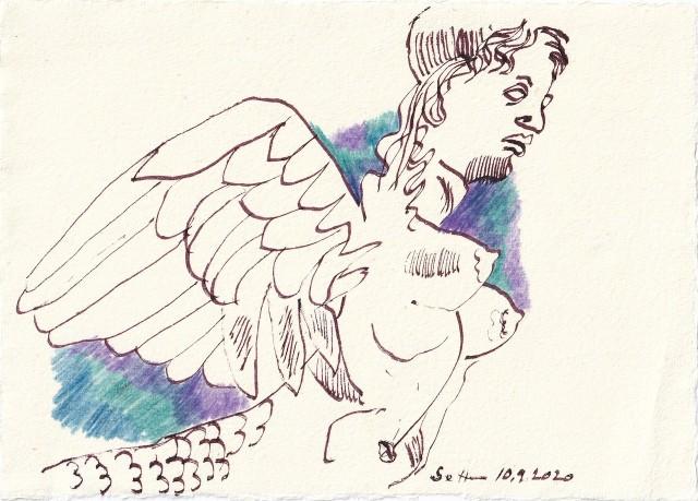 Tagebucheintrag 10.09.2020, Flieg kleiner Engel, flieg, 20 x 15 cm, Tinte und Buntstift auf Silberburg Büttenpapier, Zeichnung von Susanne Haun (c) VG Bild-Kunst, Bonn 2020