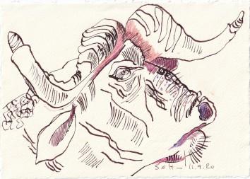 Tagebucheintrag 11.09.2020, Mit den Hörnern des Büffels, 20 x 15 cm, Tinte und Buntstift auf Silberburg Büttenpapier, Zeichnung von Susanne Haun (c) VG Bild-Kunst, Bonn 2020