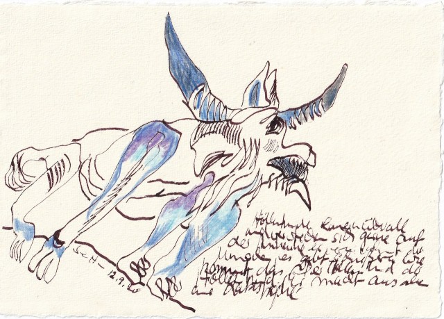 Tagebucheintrag 12.09.2020, Höllenhunde, 20 x 15 cm, Tinte und Buntstift auf Silberburg Büttenpapier, Zeichnung von Susanne Haun (c) VG Bild-Kunst, Bonn 2020
