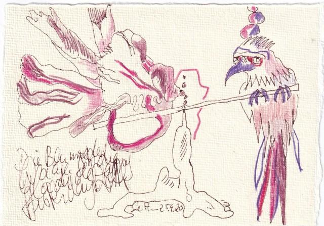 Tagebucheintrag 25.09.2020, Die Blume der Waage ist die Gladiole, 20 x 15 cm, Tinte und Buntstift auf Silberburg Büttenpapier, Zeichnung von Susanne Haun (c) VG Bild-Kunst, Bonn 2020