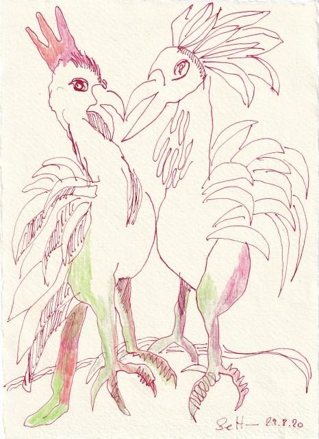 Tagebucheintrag 29.08.2020, Auf der Balz, 20 x 15 cm, Tinte und Buntstift auf Silberburg Büttenpapier, Zeichnung von Susanne Haun (c) VG Bild-Kunst, Bonn 2020