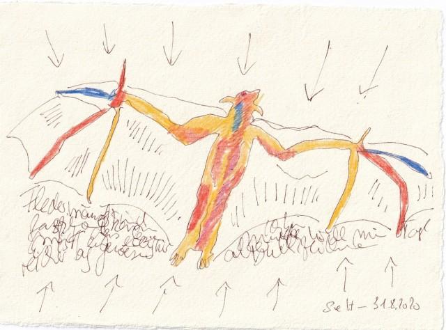 Tagebucheintrag 31.08.2020, Formen wiederholen sich, 20 x 15 cm, Tinte und Buntstift auf Silberburg Büttenpapier, Zeichnung von Susanne Haun (c) VG Bild-Kunst, Bonn 2020