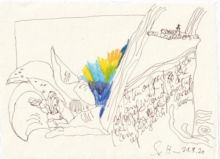 Tagebucheintrag 31.08.2020, I'am worked up, 20 x 15 cm, Tinte und Buntstift auf Silberburg Büttenpapier, Zeichnung von Susanne Haun (c) VG Bild-Kunst, Bonn 2020